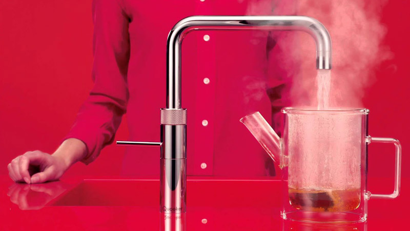 Tap on a hot steel sink…